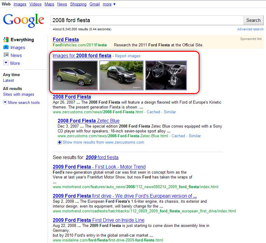 "Google Search Results for ""2008 Ford Fiesta"" Search With Universal Search Results and Images"
