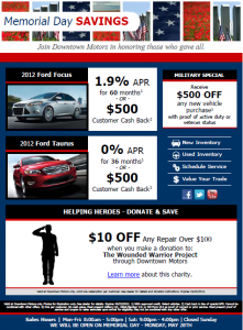Example of Memorial Day direct mail piece