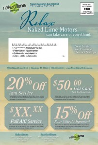 Naked Lime direct mail example